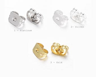 50pcs, Brass Earring Backs // Stoppers // Ear Post Nut - Choose your colour