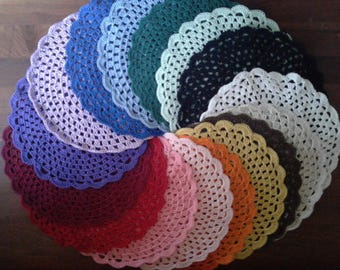 Handmade Doily - Glass, Bread & Butter or Plate mat - Assorted colors!!