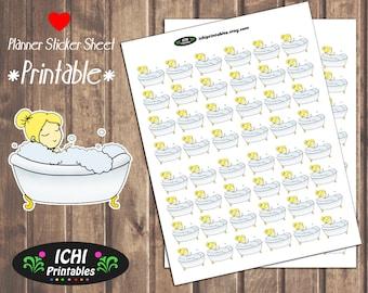 Blonde Girl Taking A Bath Planner Stickers, Printable Planner Bath Stickers, Pampering, Bubble Bath, Cute Kawaii, Erin Condren, Life Planner