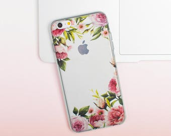 Flowers iPhone 7 Case iPhone 6 Case iPhone 7 Plus Case iPhone 6S Case Floral iPhone 5S Case 5c iPhone case Galaxy S8 Case Clear 017