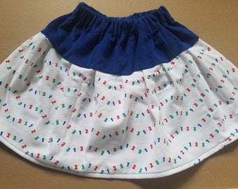 Blue and white corduroy twirl skirt with 123 print- 18 months