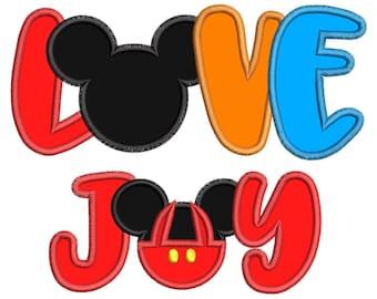 Love Joy Mickey Mouse Applique Design - Mickey Mouse Ears - Love Joy Applique Design - Instant Download