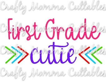 First Grade Cutie SVG file / 1st Grade SVG / First Day of School Cut File / First Grade Silhouette File / Cutting File / Little Sis SVG file