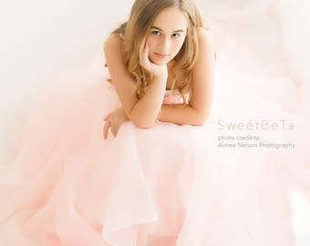 pink bridal organza skirt, ball grown prom skirt, formal party organza skirt