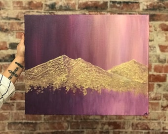 Gold Mountain Acrylic Painting
