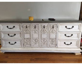 Farmhouse Antiqued Dresser Sideboard Shabby Chic Rustic Reclaimed Top