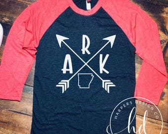 Arkansas Shirt • Raglan • Razorbacks •