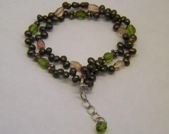 Germau sterling silver pearl crystal bracelet #108