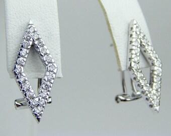 14k white gold diamond earrings #10028