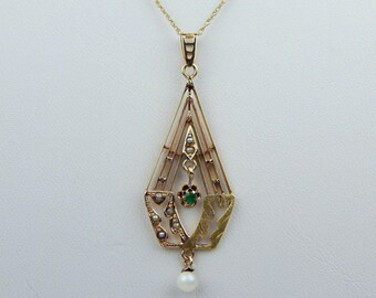Art Deco 10k Gold emerald pearl lavalier pendant necklace #10057