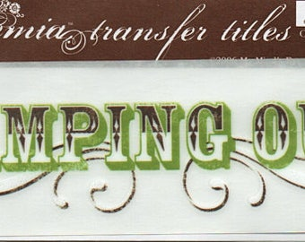 Camping Out Title Rub On Transfer Embellishments Cardmaking Crafts My Mind's Eye Bohemia