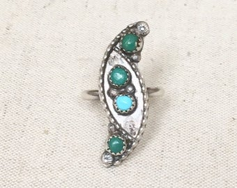 Zuni Turquoise Ring Native American Vintage Sterling Silver Petit Point Mulitstone Feather Flower Ring Size 7