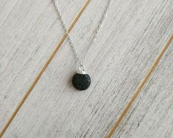 Dainty Oval LAVA Pendant Diffuser Necklace, lava necklace, diffuser necklace, lava stone necklace
