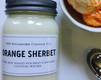 16 oz. Orange Sherbet Pure Soy Candle with Cotton Wick