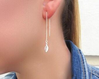 Threader earrings, Leaves earrings, chain threader earrings, Nature earrings, Leaf earrings, nature jewelry, fall earrings