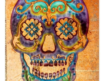 Sugar skull, Day of the dead, Skull, Metal Skull, Metal Art, Skull wall art, Skull art, Skull decor, Skull wall hanging, Sugar skull art