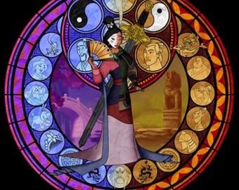 Mulan cross stitch socia digital Pattern medallion stained glass kingdom hearts
