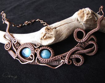 Unique copper necklace made with wire wrapped technique