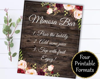 Bridal Shower Mimosa Bar Sign - Mimosa Sign Bridal Shower Decor - Mimosa Bar Printable - Floral Mimosa Bar Sign - Printable Mimosa Bar sign