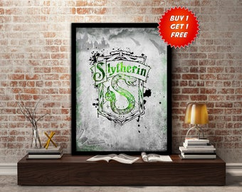Slytherin,House, Print, Poster, Fan Art, Harry Potter, Crest, Hogwarts, Evil, Death Eater,Birthday, Ravenclaw, Gryffindor, Hufflepuff