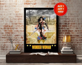 Wonder Woman, poster, print, justice league, lasso, DC, Super, Hero, gift, gift for her, gift for him, sword, shield, wall, art,Birthday