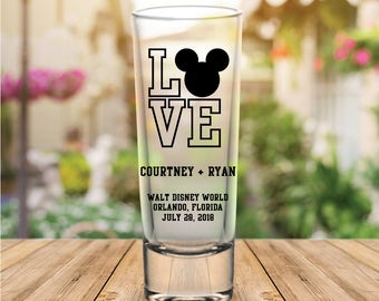 Custom Disney Themed Tall Wedding Favor Shot Glasses