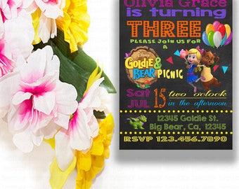 DigitaGoldie Bear Picnic Birthday Party Invitation