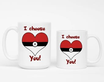 I Choose You Pokeball Heart Mug. Pokemon Mug, Pokemon Trainer Mug, Valentine's Day Gift Video Game Lover Mug, Boyfriend Gift,Girlfriend Gift