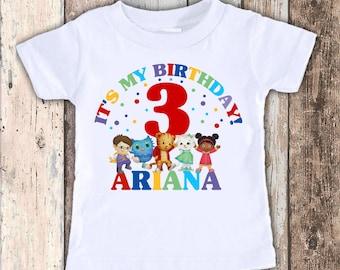 Daniel Tiger Inspired custom designed birthday t shirt tshirt personalized