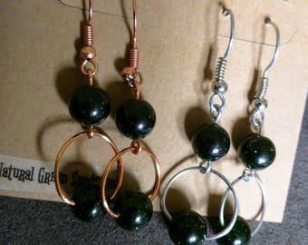 Green Sandstone - Copper or Silver - Wire Earrings