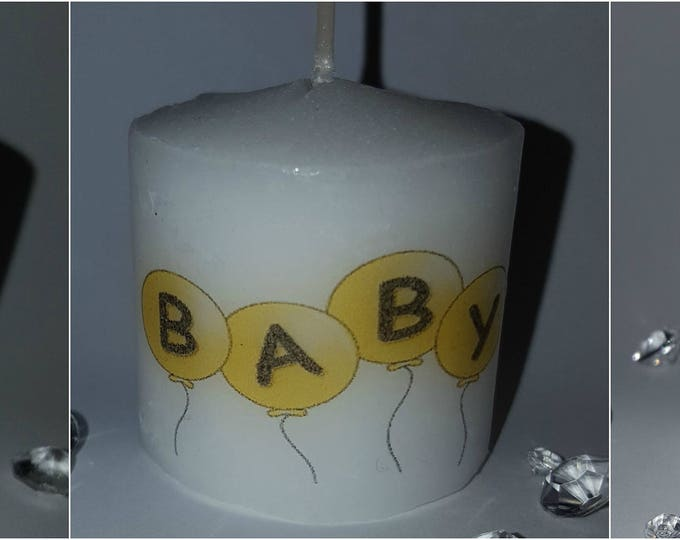 Baby shower gender reveal votive scented candle favours