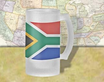 South Africa Flag Beer Mug, Beer Stein, Country Flag, Country Pride, Beer Glass, 16 oz., Frosted Mug, Beer Thinkers, Beer Lovers, Cold Beer