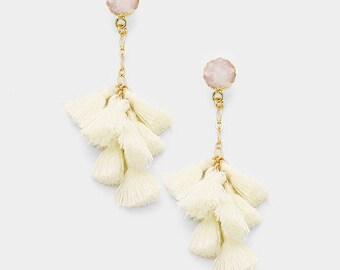 Ivory Druzy Tassel Earrings, Multi Tassel Earring
