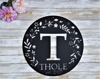 Personalized Last Name Sign, Monogram, Housewarming gift, front door wreath, Front Door Hanger, Outdoor Metal Monogram Sign, Family Name Art