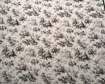 "Black and White Toile Whole Cloth Quilt 43"" x 52.5"""