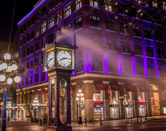 Gas Town at night, Vancouver, Canada, Street photography, night, light trail