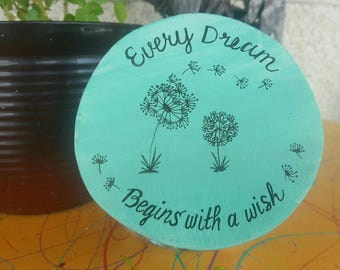 """DANDELION CANDY JAR / Cookie Jar """"Every Dream Begins With A Wish"""", Hand Painted Wood, Glass Counter Top Jar, Great Gift Item, Tole Painted"""