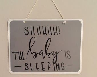 Baby Is Sleeping Door Hanger - Grey