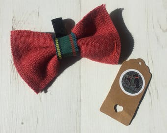 Red and green tartan bow tie - bow, contrast, colourful pet accessories, collar attachment, quirky bow tie, handmade bow tie, cat bow