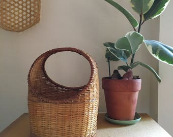 Vintage Woven Wicker Cylinder Basket With handle
