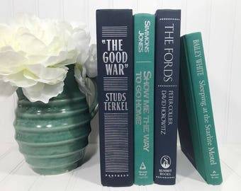 Navy Blue and Teal Decorative Book Set
