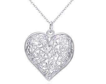 Flower Heart Tree Of Life Pendant Necklace For Women 925 Serling Silver Fine Jewelry Pendant
