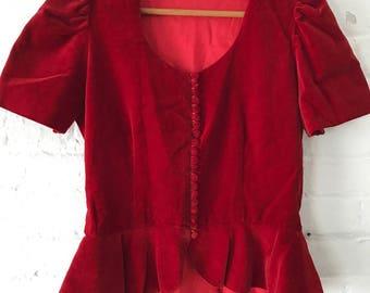 Vintage 1940s 1950s Red Velvet Button up Blouse 40s 50s