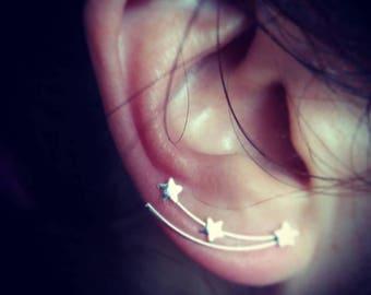 Silver ear climber, silver ear pin