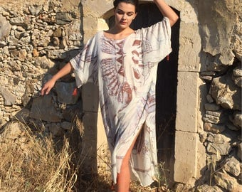 Skull Print Cotton Caftan,Plus Size Kaftan,resort wear,beach coverup,beach robe,oversized Caftan,White maxi dress, White House Robe,sarong