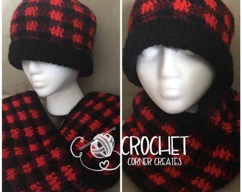 Buffalo Plaid messy bun hat & infinity scarf set, slouchy hat, cowl, Shipping Included