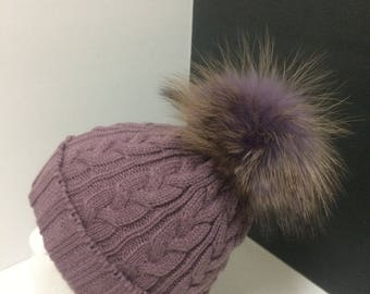 Purple Beanie hat, with removable Large Real Genuine  Raccoon fur Pom pom and warm fleece lining.