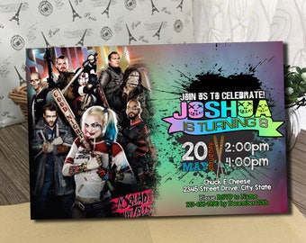 Suicide Squad Movie Invitation, Suicide Squad Birthday Party at the Movies, Harley Quinn, Suicide Squad Invite, DIY, Justice League