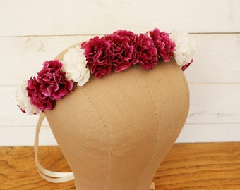 Red and White carnation flowers crown