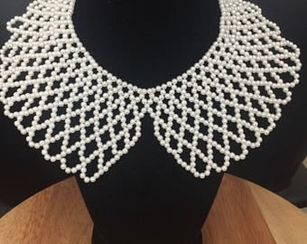 Pearl beaded bib necklace